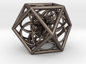 Cuboctahedron With Flower Of Life in Polished Bronzed Silver Steel