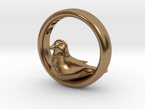 Reverse Bird Ring in Natural Brass
