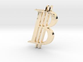 Bitcoin Logo 3D 50mm in 14K Yellow Gold