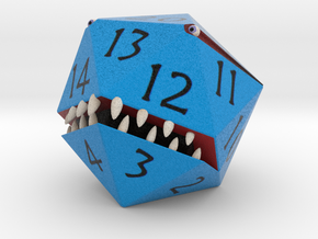 D20 Blue Monster Figurine in Full Color Sandstone