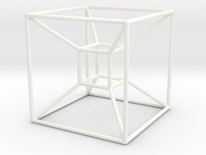 Tesseract (Hypercube) in White Processed Versatile Plastic