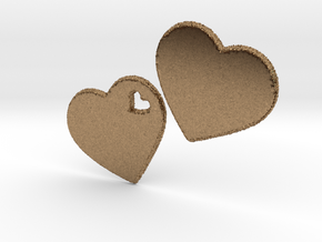 LOVE 3D Hearts 80mm in Natural Brass