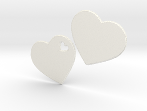 LOVE 3D Hearts in White Processed Versatile Plastic