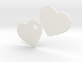 LOVE 3D Hearts in White Processed Versatile Plastic