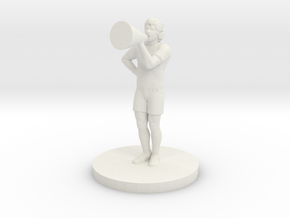 Male Cheerleader in White Natural Versatile Plastic