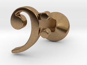 Bass Clef Cufflink (single) in Natural Brass