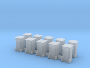 Rollaway Trash Bins N Scale in Smooth Fine Detail Plastic