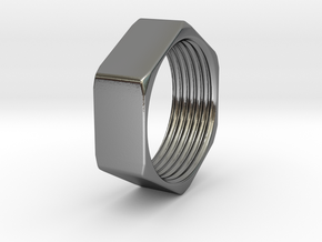 Threaded Hex Nut Ring in Polished Silver