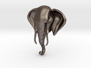 Elephant Head Pendant in Polished Bronzed Silver Steel