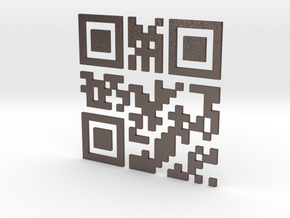 Wien Vienna 3D QR Code Puzzle 120mm in Polished Bronzed Silver Steel