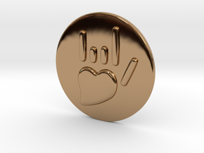 Coin-L - Handsign -  I love you in Polished Brass