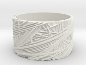 Fibres Ring Size 9 in White Natural Versatile Plastic