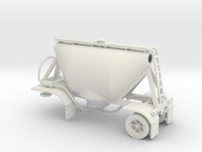 HO 1/87 Shorty Dry Bulk Trailer 07a (no dolly) in White Natural Versatile Plastic
