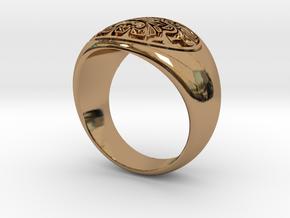 Tiki Man mask ring in Polished Brass