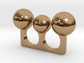 3 Sphere Open Ring in Polished Brass
