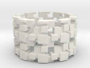 Tilt Cubes Ring Size 10 in White Natural Versatile Plastic