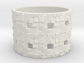 Puzzle Box Ring Size 9 in White Natural Versatile Plastic