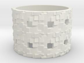 Puzzle Box Ring Size 8 in White Natural Versatile Plastic