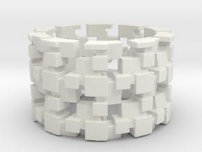 Tilt Cubes Ring Size 9 in White Natural Versatile Plastic