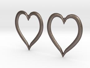 Heart Earrings in Polished Bronzed Silver Steel