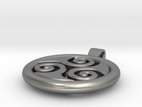 Big Triskell Negative Hole Pendant in Natural Silver