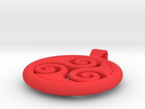 Big Triskell Negative Hole Pendant in Red Processed Versatile Plastic