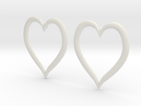 Heart Earrings in White Natural Versatile Plastic