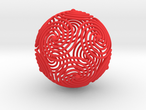 Spiraling Icosahedron in Red Processed Versatile Plastic