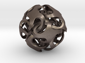 Rhombic Dodecahedron I, large in Polished Bronzed Silver Steel