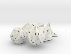 Stretcher Dice Set in White Natural Versatile Plastic