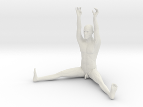 The Human Cube - Male element - Naked Geometry in White Natural Versatile Plastic