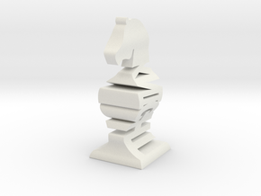 Typographical Knight Chess Piece in White Natural Versatile Plastic