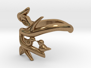 Two Birds on a Branch 2 (custom size 8 3/4) in Natural Brass