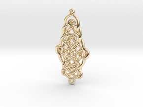 Raindrop Celtic Knot Pendant 40mm in 14K Yellow Gold