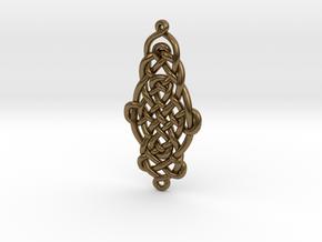 Raindrop Celtic Knot Pendant 40mm in Natural Bronze