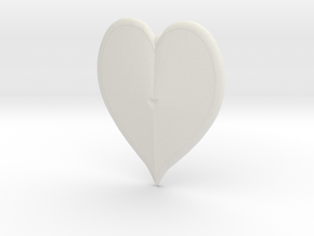 Heart Pendant in White Natural Versatile Plastic