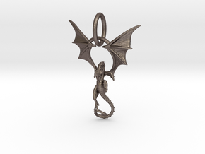 Dragon pendant # 6 in Polished Bronzed Silver Steel