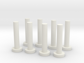HO Scale Chilean Mill Spindles in White Natural Versatile Plastic