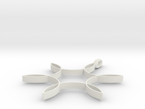 Hexafoil Pendant 1/2-Size in White Natural Versatile Plastic