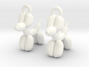 earrings Balloon dog in White Strong & Flexible Polished