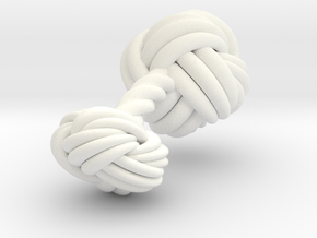 Woven Knot Cufflink in White Processed Versatile Plastic