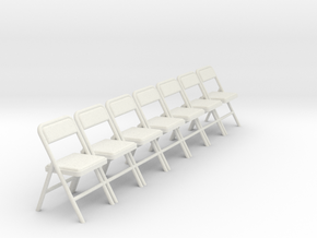 1:24 Group Folding Chairs (Not Full Size) in White Natural Versatile Plastic