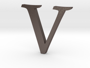 V (letters series) in Polished Bronzed Silver Steel