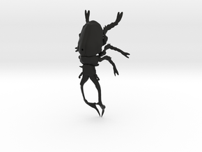 Stag Beetle small with pinhole in Black Natural Versatile Plastic