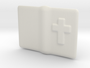 """Small open Bible for 6"""" to 12"""" figures in White Natural Versatile Plastic"""