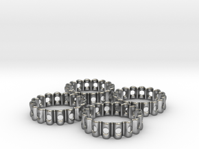 Crinkled Napkin Rings (4) in Raw Silver