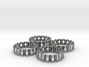 Crinkled Napkin Rings (4) in Natural Silver