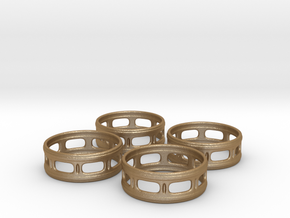 Windowed Napkin Rings (4) in Matte Gold Steel