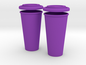 BJD Doll Coffee House Cup and Lid - 2 Pack in Purple Strong & Flexible Polished
