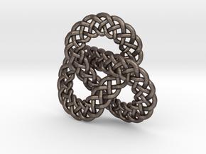 Celtic Knot Trefoil Pendant in Polished Bronzed Silver Steel